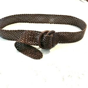 J Crew Woven Leather Adjustable Belt with D Ring